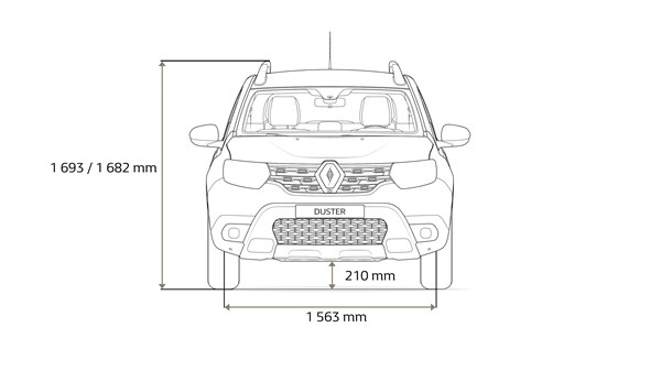 Renault DUSTER - Overhead view of the vehicle with dimension arrows