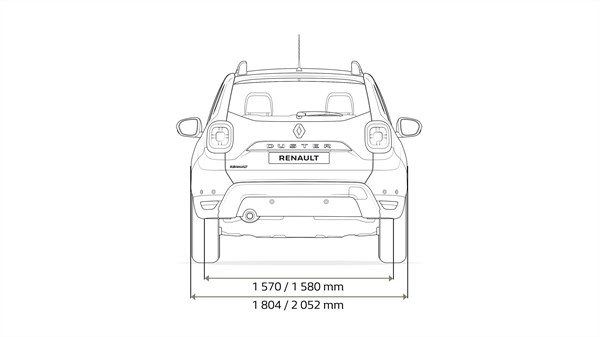 Renault DUSTER - Rear end of vehicle with dimension arrows