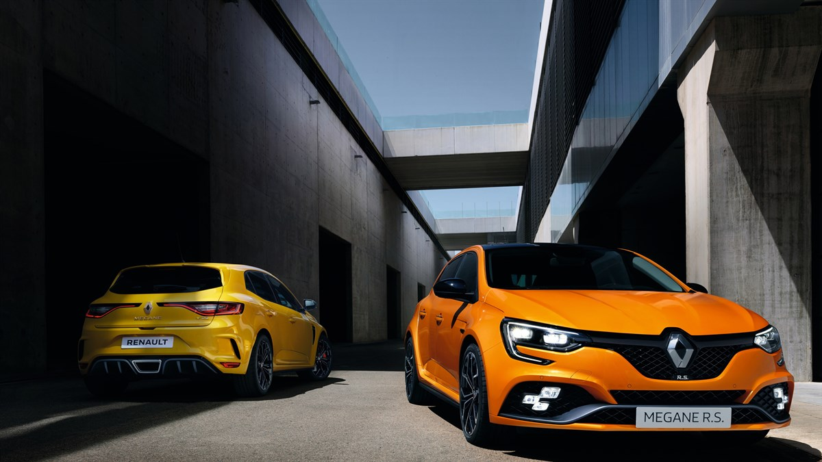 Renault MEGANE RS - front of the Orange Tonic car and rear of the Sirius Yellow car