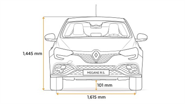 Renault MEGANE RS - diagram of front end dimensions