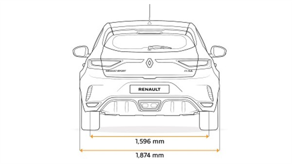 Renault MEGANE RS - drawing of rear end dimensions
