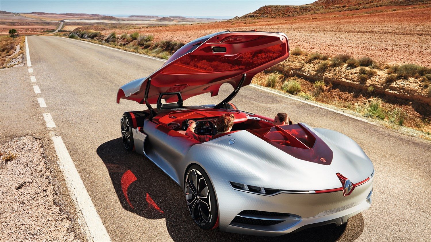 Renault TREZOR concept car top view with the sliding roof door open