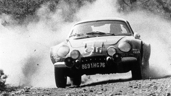 A Black and White photo of an Alpine car